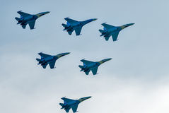 Teamwork of russian fighters SU-27 knights Royalty Free Stock Photos