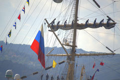 Teamwork on Russian sailing ship Stock Images