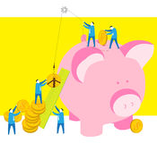 Teamwork-Saving money. Five businessman try to put the money in a Piggy bank Stock Photos