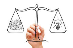 Teamwork Scale And Light Bulbs Concept royalty free stock photography