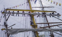 Teamwork on the ship Stock Photos