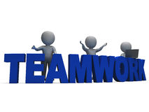Teamwork Showing 3d Characters Working Together Royalty Free Stock Images