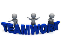 Teamwork Shows 3d Characters Working Together Royalty Free Stock Photos