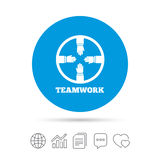 Teamwork sign icon. Helping Hands. Teamwork sign icon. Helping Hands symbol. Group of employees working together. Copy files, chat speech bubble and chart web Royalty Free Stock Images