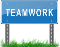 Teamwork Signpost. A blue signpost about Teamwork Royalty Free Stock Photo