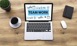 Teamwork sketch on laptop screen Stock Photo