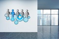 Teamwork sketch on office wall Stock Photos
