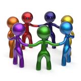 Teamwork social network circle people diverse characters. Friendship individuality partnership team seven cartoon friends unity meeting icon concept colorful Stock Photo
