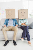Teamwork on sofa with smiling face. In the office Royalty Free Stock Image