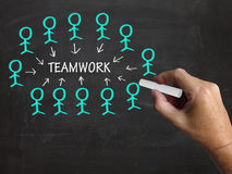 Teamwork Stick Figures Shows Working As Team Stock Image