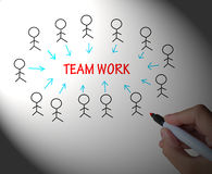 Teamwork Stick Figures Shows Working As A Team Royalty Free Stock Photo