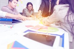 Teamwork  strategy business concept .Start up business people in modern office, working together having success. Multiethnic start stock photos
