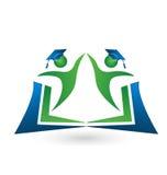 Teamwork students book logo Royalty Free Stock Image