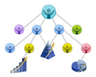 Teamwork success. Graph isolated over a white background stock illustration