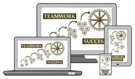 Teamwork success concept on different devices Stock Photo