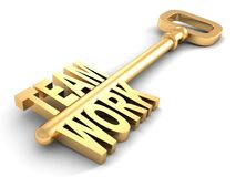 Teamwork success concept golden key on white Stock Images