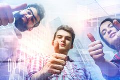Teamwork, success and gesture concept stock photography