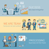 Teamwork Success Processing Flat line art business. Teamwork Success Processing infographics. Linear flat line art style business people concept. Conceptual Stock Images