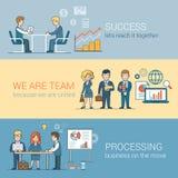 Teamwork Success Processing Flat line art business