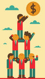 Teamwork & Success. Team creates a human pyramid in order to reach a coin in the sky Royalty Free Stock Image