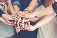 Free Teamwork Success. Top View Executive Business People Group Team Happy Showing Teamwork And Joining Hands Or Giving Five After Mee Royalty Free Stock Photography - 120081227