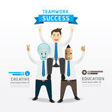 Teamwork of successful businessman cartoon Infographic Design. Stock Photography