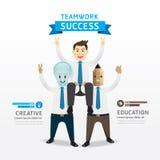 Teamwork of successful businessman cartoon Infographic Design. Stock Photography
