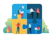 Teamwork successful together concept. Marketing content. Business People Holding the big jigsaw puzzle piece. Flat cartoon stock image