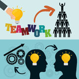 Teamwork support set design. Pictogram heads gears bulbs teamwork support collaborative cooperation work icon set. Colorful design. Vector illustration Royalty Free Stock Photography
