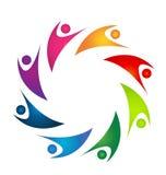 Teamwork supportive people vector logo. Design illustration stock illustration