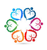 Teamwork swirly union hearts logo Royalty Free Stock Images
