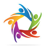Teamwork swooshes people logo. Teamwork abstract business people logo vector image Stock Photo