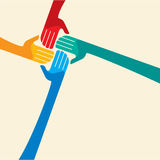 Teamwork symbol. Multicolored hands Royalty Free Stock Photo