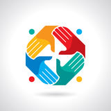 Teamwork symbol. Multicolored hands Royalty Free Stock Images