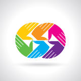 Teamwork symbol. Multicolored hands Stock Photography