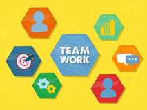 Teamwork and symbols in grunge flat design hexagons Royalty Free Stock Photo
