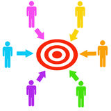 Teamwork target. Working together as a team towards the target Royalty Free Stock Photography