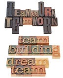 Teamwork and team building. Teamwork, team building and dream team  - a collage of isolated text phrases in vintage wood letterpress printing blocks Stock Photo