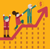 Teamwork. A team climbs a graph and reaches the money icon on top Royalty Free Stock Photo