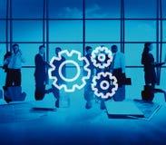 Teamwork-Team Collaboration Connection Gear Organisations-Konzept Stockbilder