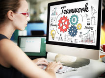 Teamwork Team Collaboration Connection Togetherness Unity Concep. Woamn Teamwok Collaboration Graphic Concept Royalty Free Stock Photography