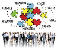 Teamwork Team Connection Strategy Partnership Support Puzzle Con Royalty Free Stock Photography