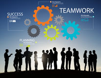 Teamwork-Team Group Gear Partnership Cooperations-Konzept Stockfoto