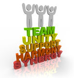 Teamwork - Team Members Stand on Words Stock Photography