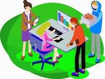 Teamwork team of office workers who brought pizza vector illustration