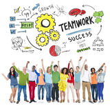 Teamwork-Team Together Collaboration People Celebrations-Erfolg Stockfotos