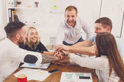 Teamwork and teambuilding concept in office, people connect hand Royalty Free Stock Photography