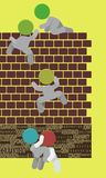 Teamwork Teamplay Men Climbing Wall Illustration. Climbing wall, teamwork in action illustration Stock Image