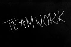 Teamwork Text on Blackboard Stock Photo
