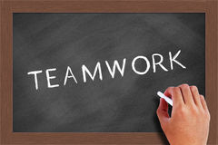 Teamwork Text on Blackboard Stock Photos